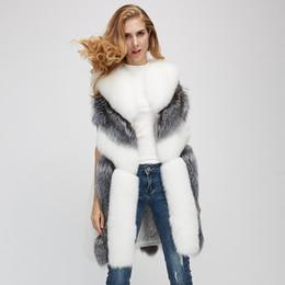 Wholesale fox lady vest resale online - hot sale haining spring autumn fur vest lady fake fox fur vest coat faux fox fur waistcoat jackets