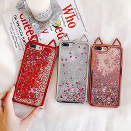 iphone luxury metallic 2020 - 3D Cat Metallic Soft TPU Case For Iphone X 10 8 7 6 6S Liquid Quicksand Chromed Bling Glitter Lovely Cute Silicone Ears