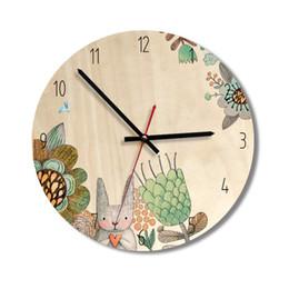 Discount walls watches - Bulk 4 Design Cartoon Wooden Wall Clock Watch Stickers Home Decor Bedroom Decoration Wall Mirror wallpaper Household Art