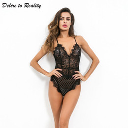 73e34edaac15 New Sexy Lingerie Lace Teddies Deep V Neck Women Bodysuits Sexy Teddy  Sleepwear Erotic Lingerie Lace Romper Jumpsuit P3634D