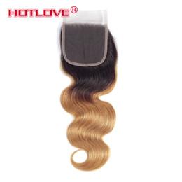$enCountryForm.capitalKeyWord Australia - Hotlove Brazilian 1b 27 Body Wave Human Hair Ombre Blonde Free Part 4x4 Lace Closure With BabyHair