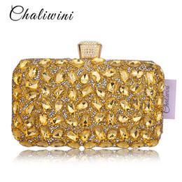 $enCountryForm.capitalKeyWord NZ - Golden Crystal Women Evening Bag Clutches Diamond Bridal Wedding Box Clutch Ladies Metal Hardcase Party Shoulder Handbags Purses Y18103004