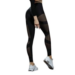 Sexy Yoga Pants For Women Canada - New Women Mesh Black Transparent Comfortable Yoga Pant Sexy Slim Fit Leggins Push Up Hips Workout Leggings For Women Activewear