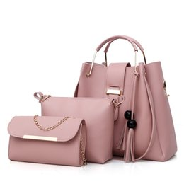 Chinese  3pcs Set Women PU Leather Tote Shopper Bag Top-Handle Handbags Ladies Female Tassel Fringed Shoulder Crossbody Messenger Bags manufacturers