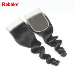 Discount virgin malaysian hair closure loose wave - Rabake Loose Wave Top 4x4 Swiss Lace Closure Brazilian Loose Wave Virgin Hair Extensions Peruvian Malaysian Indian Human