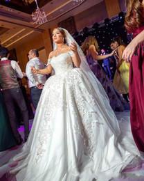 Luxury Modern Dubai Dresses NZ - Luxury African Off Shoulder Lace Plus Size Wedding Dresses Train Saudi Arabia Dubai vestido de noiva Bridal Gown Ball For Bride Custom