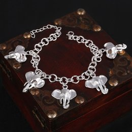$enCountryForm.capitalKeyWord NZ - Hesiod Silver Plated elephant charm bracelets anklets long link chain cute animal bracelet bangles for women