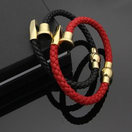 Chinese  Fine Geniune Leather nail Bracelets Magnetic clasp Black red braided rope with silver gold nail-head Bracelets for women fashion Jewelry manufacturers