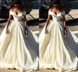 Off white dress red lining online shopping - New Fashion Simple Cheap Wedding Dresses Off The Shoulder Capped Sleeves Satin Sweep Train A Line Wedding Gowns Sexy Bridal Gowns