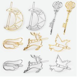 $enCountryForm.capitalKeyWord Australia - Simple line Figure moon key wing deer bird rabbit with Gold or silver plated for Women hair clip gift