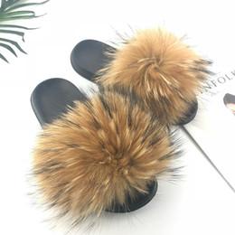 Venta al por mayor de Zapatillas de piel de zorro real para mujer 2019 Sliders Casual Fox Hair Flat Fluffy Fashion Home Summer Big Size 45 Furry Flip Flops zapatos