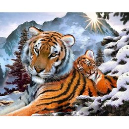 Color Diy Painting Australia - Hot Sell DIY Oil Painting Kit Adult Kit Use Room Decoration No Frame 40*50CM Tool Brush Color Clear Indication Leopard Animal Art Creation