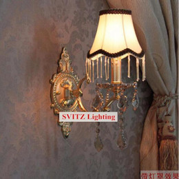 $enCountryForm.capitalKeyWord NZ - SVITZ Free shipping Bedroom modern wall Sconce crystal Wall lamps fabric lampshade Europe fluorescent wall lights for bedside hallway