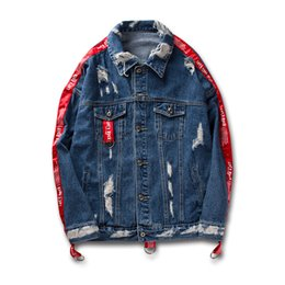 Chinese  Winter Autumn Clothes Mens Ripped Denim Jacket Coats Long Sleeves Jeans Jacket With Straps Black And Blue manufacturers