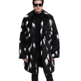 3x men 2019 - Men Fashion Autumn Winter Thick Faux Fur Coat Mixed Color Long Sleeve Turn-down Collar Trench Casual Outwear Plus Size 3