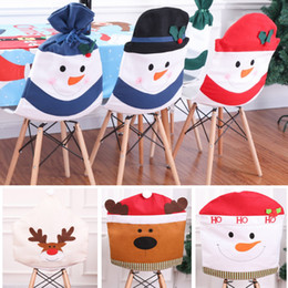 Indoor Chairs Australia - Newest Chair Cover Case For Snowman Reindeer Elk Table Houseware Christmas Decorations 7 Styles DHL Ship HH7-1779