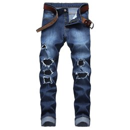 trousers for men sizes Australia - MORUANCLE Men Hi Street Destroyed Jeans With Holes Strtch Ripped Denim Trousers For Man Distressed Jean Pants Plus Size 28-42