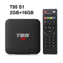 t95 android tv box UK - 12PCS Original T95 S1 2GB 16GB Android 7.1 tv box Amlogic S905W support StbEmu Youtube Netflix Set Top Box