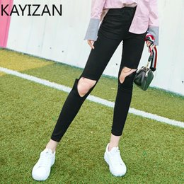 $enCountryForm.capitalKeyWord Canada - KAYIZAN Broken Hole Women Jeans 2018 Autumn New Slim Cutting Hollow Broken Cowboy Pencil Pants Black Wild Trousers Personality