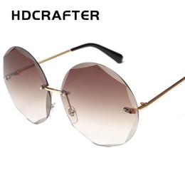 1aa9d22b1b wholesale Rimless Sunglasses Women Vintage Round Sun Glasses Brand Designer Eyewear  Sunnies Women Shades