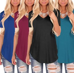 $enCountryForm.capitalKeyWord NZ - Wholesale 12 Colors S-5XL Summer European and American style V collar knitted plain shirts plus size short sleeved T-shirt women blouses