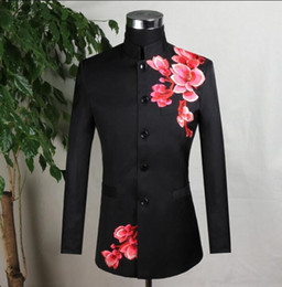 $enCountryForm.capitalKeyWord Australia - Embroidery blazer men formal dress latest coat designs marriage suit men masculino wedding suits for men's black stand collar