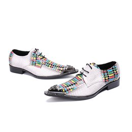Wholesale coloured wedding dresses for sale - Group buy Men s pointed toe dress shoes Fish scale pattern colour river lace up oxford for men party wedding shoes men