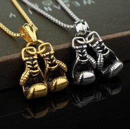 $enCountryForm.capitalKeyWord Australia - 2018 Sport boxing Men Necklace Fitness Fashion Stainless Steel Workout Jewelry Gold Plated Pair Boxing Glove Charm Pendants Accessories Gift