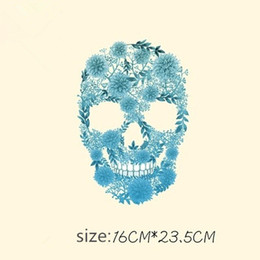 Chinese  New Fashion Skull DIY Stickers 16*23.5CM Patches Stickers T-shirt Sweater Iron on Patches for Clothing manufacturers