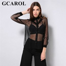 3179e0316 GCAROL 2018 Nova Chegada Mulheres Ruffles Organza Blusa Transparente Turn  Down Collar Magro Sexy Camisa de Verão Preto Tops