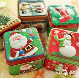 tin cases christmas 2019 - Free Shipping! 4cs ot Hot & New Christmas Metal Gift Tin Box Christmas Candy Can Gift Decoration Metal Storage Case chea