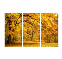 $enCountryForm.capitalKeyWord UK - Large 3 Panel Golden autumn Maple Landscape Painting Canvas Print Wall Art Picture Modern Home Decor For Living Room Decoration SetA11