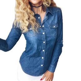 a8133578dc Plus Size vetement Fashion Style Women Clothes Blouse Long Sleeves Casual Denim  Shirt Nostalgic Vintage Blue Jeans Shirt CamisaY1882301