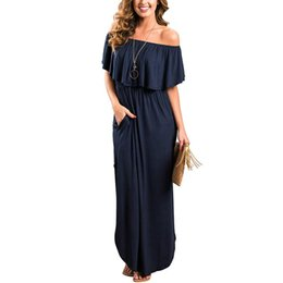 9a1a491a8a06 Casual Summer Women Dresses Off The Shoulder Ruffle Solid Cotton Long Beach  Dresses Side Split Black Jersey Maxi Dresses