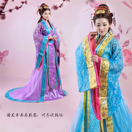 plus size dress code NZ - Large code Tang Dynasty princess elegant Hanfu fairy costume drag tail wedding performance clothes