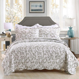 $enCountryForm.capitalKeyWord NZ - Pastoral cotton quilting quilts white printed Home Beddingset King American style Bedspread patchwork quilt light Blue Bedcover