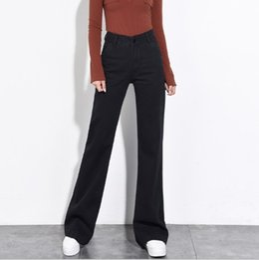 2018 otoño invierno flare jeans para mujer pierna ancha sueltos pantalones  vaqueros negros mujer cintura alta campana inferior pantalones de mezclilla  ... 7293edf27ca4