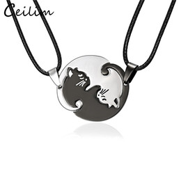 Gifts for cat lovers online shopping - 2018 New Arrival Couples Jewelry Necklaces Black White Couple Necklace Stainless Steel Animal Cat Pendants Necklace For lover