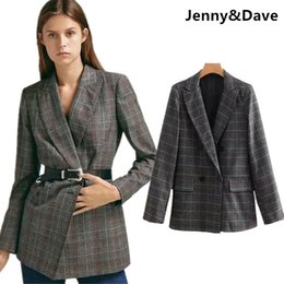 852df1cdef Jenny Dave blazers women england style urban double breasted vintage plaid  notched boyfriend blazer feminino jacket women tops
