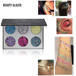 body glitter color NZ - Beauty Glazed 6 Color Glitter Eye Shadow Gel Pallete Shimmer Rainbow Diamond Face Body Sequins Palette Cosmetic Makeup TSLM2