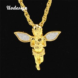 Discount mens pendant crosses - Uodesign Mens Hip Hop Iced Out Rhinestone Pendant Necklace Set Micro Angel Pendant Necklace Male Necklace Jewelry