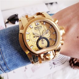 Wholesale Real oringal A TOP quality INVICTA Bolt Men mm Gold Stainless Steel Stainless Steel Titanium dial D Quartz watch