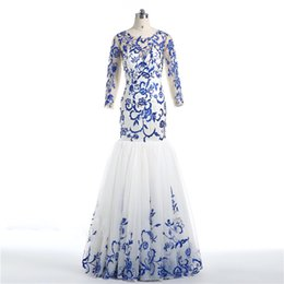 Custom Jacket Embroidery NZ - 2018 Best Selling Blue Embroidery Mermaid Evening Dresses With Full Sleeves Custom Organza Long Prom Gowns Free Shipping Formal Women Wears
