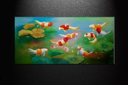 $enCountryForm.capitalKeyWord NZ - HUGE MODERN ABSTRACT OIL PAINTING Feng Shui Fish Koi Canvas Wall Art Pure Hand Painted China wind Koi Art Bedroom Home Decoration BDF055