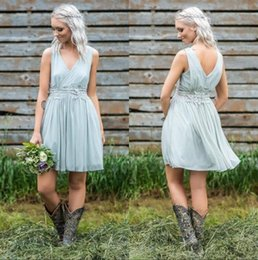 Sexy Country Bridesmaids Dresses NZ - Sexy V Neck Chiffon Short Country Bridesmaid Dresses Lace Applique Knee Length Maid of Honor Plus Size Wedding Guest Dresses