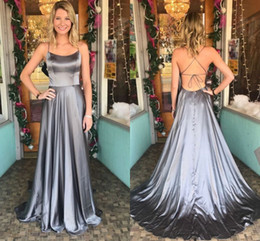 $enCountryForm.capitalKeyWord Australia - Grey Evening Dress Long Cheap 2018 Open Back Satin A line Side Slit Spaghetti Straps Long Prom Red Carpet Dress Gowns For Women