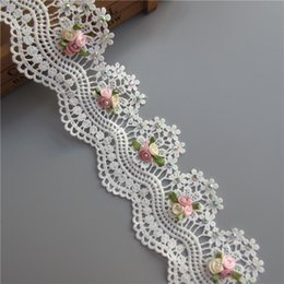$enCountryForm.capitalKeyWord NZ - Soluble Cotton Flower Diamond Pearl Embroidered Fabric Lace Trim Ribbon Handmade DIY Sewing Craft For Costume Hat Decoration 1 yard