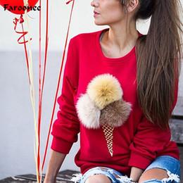 ffad9628c023 Mujeres Jumper Sweatshirt Colorido Helado 3D Artificial de Piel de Peluche  Mujeres Casual Tops Pullovers Sudaderas Q5163