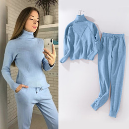 5a24cc0d3e0 Women sweater suit and sets Casual Autumn Winter 2PCS Track Suit Casual  female Knitted Trousers+Jumper Tops Costume Clothing Set C18110301