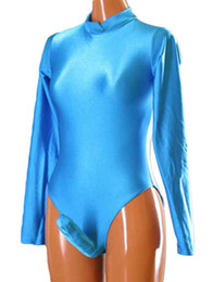Wholesale Avery Lake Blue Lycra Spandex Swimsuit Dancewear Leotard Costumes Penis Sheath